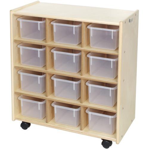 "Trojan 12 Bin Storage - 12 x Bin - 32"" Height x 29"" Width x 15"" Depth - Clear Bin - Baltic Birch Plywood, Hardboard, Hardwood"