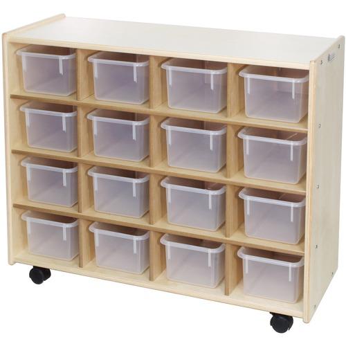 "Trojan 16 Bin Storage - 16 x Bin - 32"" Height x 38"" Width x 15"" Depth - Clear Bin - Baltic Birch Plywood, Hardboard, Hardwood"