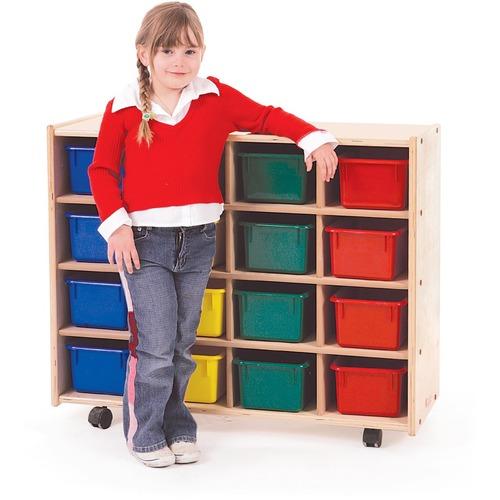 "Trojan 16 Bin Storage - 16 x Bin - 32"" Height x 38"" Width x 15"" Depth - Baltic Birch Plywood, Hardboard, Hardwood"