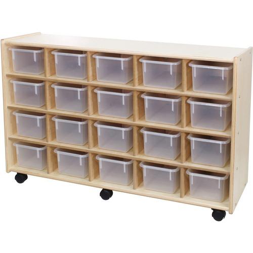 "Trojan 20 Bin Storage - 20 x Bin - 32"" Height x 48"" Width x 15"" Depth - Clear Bin - Baltic Birch Plywood, Hardboard, Hardwood"