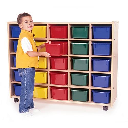 "Trojan 25 Bin Storage - 25 x Bin - 38"" Height x 48"" Width x 15"" Depth - Clear Bin - Baltic Birch Plywood, Hardboard, Hardwood"