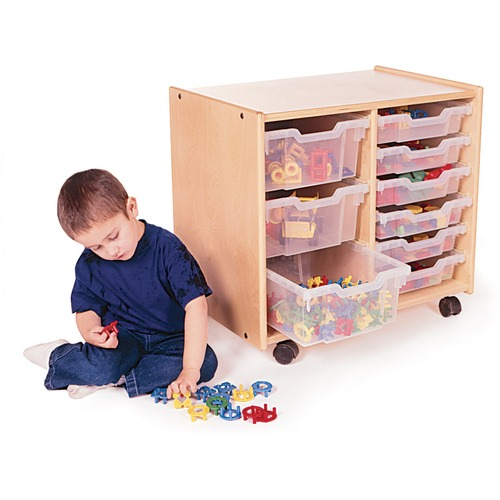 "Trojan 2 Section Toddler Tray Storage - 9 x Tray - 24"" Height x 27"" Width x 18"" Depth - Translucent Tray - Baltic Birch Plywood, Hardboard - 1 Each"