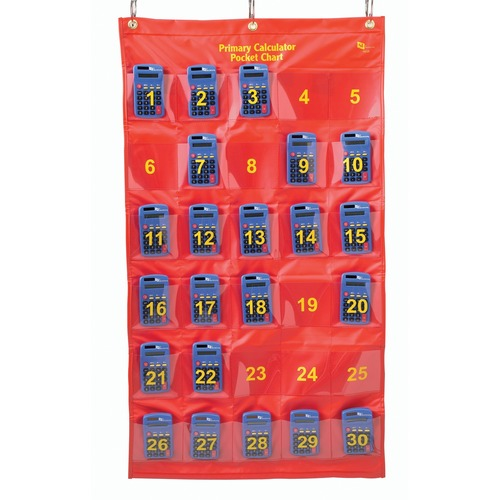 SI Manufacturing Calculator Pocket Chart with 30 Calculators - Theme/Subject: Learning - Skill Learning: Calculation - 1 Set