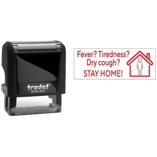 """Trodat 4911 Self-Inking Stamp - Fever, Tiredness - Message Stamp - """"Fever, Tiredness"""" - Red - Recycled"""
