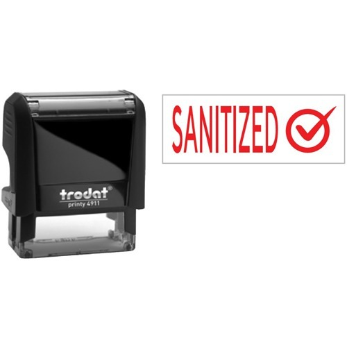 """Trodat 4911 Self-Inking Stamp - Sanitized - Message Stamp - """"Sanitized"""" - Red - Recycled"""
