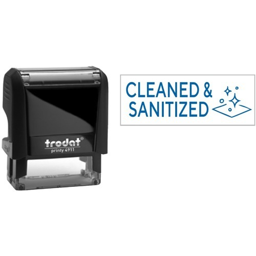"""Trodat 4911 Self-Inking Stamp - Cleaned Sanitized - Text Stamp - """"Cleaned Sanitized"""" - Blue - Recycled"""