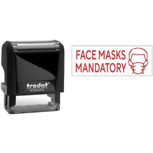 """Trodat 4911 Self-Inking Stamp - Face Masks - Message Stamp - """"Face Masks"""" - Red - Recycled"""