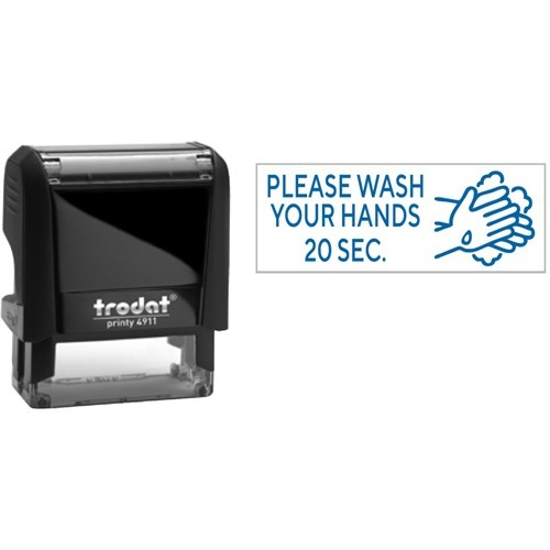 """Trodat 4911 Self-Inking Stamp - Wash Hands - Text Stamp - """"Please Wash Hands"""" - Blue - Recycled"""
