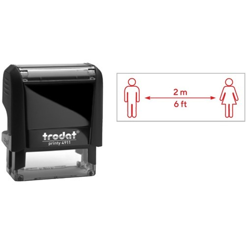 """Trodat 4911 Self-Inking Stamp - 2M Distance - Message Stamp - """"2M Distance"""" - Red - Recycled"""