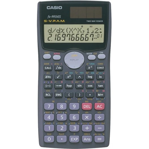 Casio fx-991MS Scientific Calculator - 401 Functions - Solar, Battery Powered, Slide-on Hard Case - LCD - Battery/Solar Powered - 1 Each