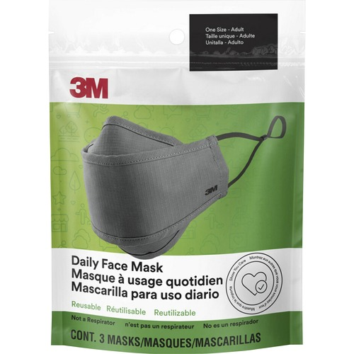 3M Daily Face Masks - Recommended for: Face, Indoor, Outdoor, Office, Transportation - Reusable, 2-ply, Lightweight, Breathable, Adjustable, Elastic Loop, Nose Clip, Comfortable, Washable - Cotton, Fabric - Gray - 3 / Pack