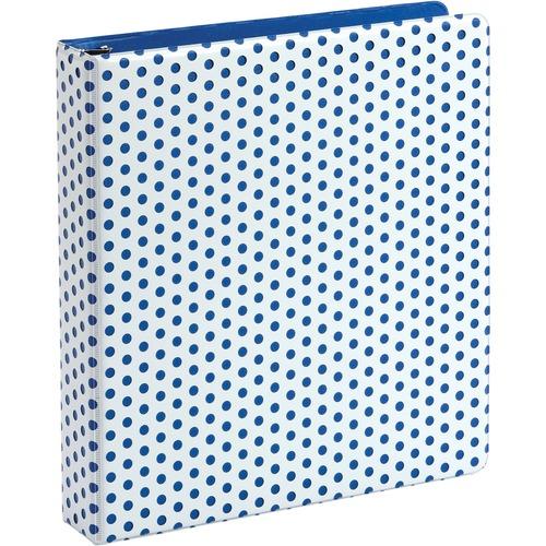 "Oxford Punch Pop Binders, 1.5"" Back-mounted Round Ring Binder, Blue - 1 1/2"" Binder Capacity - Letter - 8 1/2"" x 11"" Sheet Size - 350 Sheet Capacity - 3 x Round Ring Fastener(s) - 2 Internal Pocket(s) - Polypropylene - Blue - PVC-free, Non-stick, Durable"
