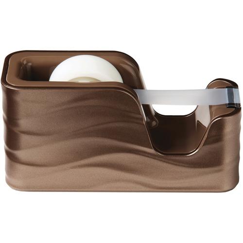 "Scotch Desktop Tape Dispenser C20-WAVE-MB - 1"" (25.40 mm) Core - Refillable - Sleek Style - Brown"