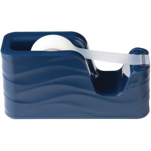 """Scotch Desktop Tape Dispenser C20-WAVE-MB - 1"""" (25.40 mm) Core - Refillable - Sleek Style, Non-skid Base, Weighted Base - Blue"""