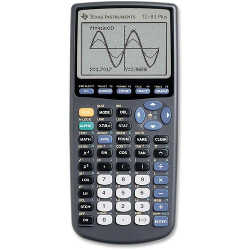 """Texas Instruments TI83 Plus Graphing Calculator - Battery Backup - 24 KB, 160 KB - RAM, ROM - 8 Line(s) - 16 Digits - LCD - 64 x 96 - Battery Powered - 4 - AAA - 7.3"""" x 3.5"""" x 1"""" - Black - 1 Each"""