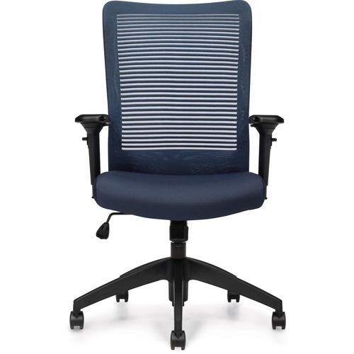Offices To Go Archer II   Mesh High Back & Upholstered Seat Synchro-Tilter - Mesh Back - High Back - Pacific - Fabric - Yes - 1 Each