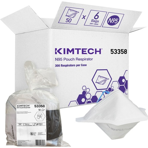 KIMTECH N95 Pouch Respirator - NIOSH-Approved - Breathable, Comfortable - Regular Size - Airborne Particle, Airborne Contaminant Protection - White - 50 / Bag - TAA Compliant