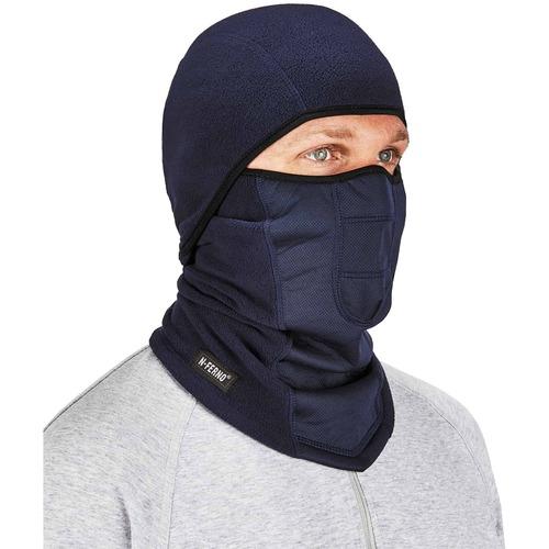 Ergodyne N-Ferno 6823 Balaclava Face Mask - Wind-Proof, Hinged Design - Fabric, Fleece - Navy