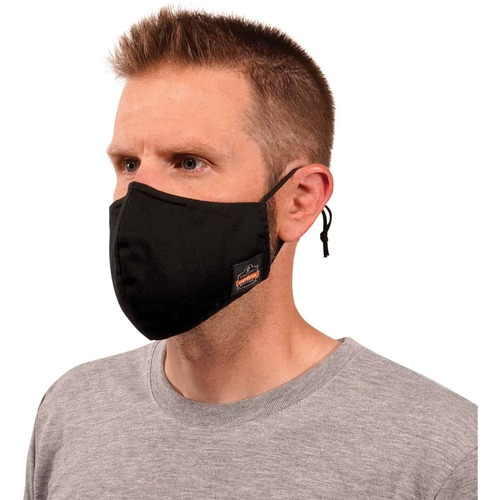 Skullerz 8800 Contoured Face Cover Mask 3-Pack - Breathable, Adjustable Nose Clip, Adjustable Ear Loop, Anti-odor, Antimicrobial, Machine Washable, Reusable, Quick Drying - Large/Extra Large Size - Cotton Twill, Polyester - Black - 120 / Pack