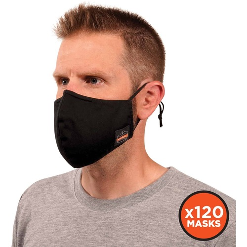 Skullerz 8800-Case Contoured Face Cover Mask - Breathable, Adjustable Nose Clip, Adjustable Ear Loop, Anti-odor, Antimicrobial, Machine Washable, Reusable, Quick Drying - Large/Extra Large Size - Black - 40 Pack
