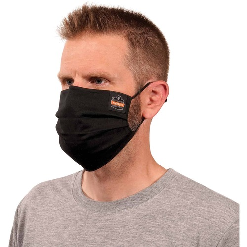 Skullerz 8801 Pleated Face Cover Mask - Adjustable Nose Clip, Adjustable Ear Loop, Anti-odor, Antimicrobial, Reusable, Machine Washable, Quick Drying - Cotton Twill, Polyester - Black - 1 Pack