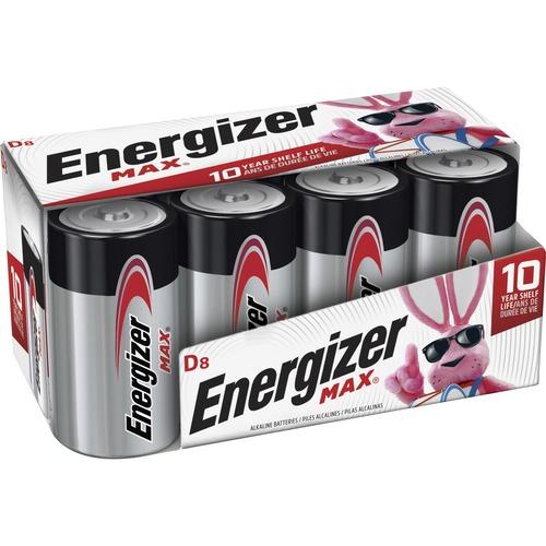 Energizer MAX Alkaline D Batteries, 8 Pack - For Multipurpose - D - 1.5 V DC - Alkaline - 8 / Pack