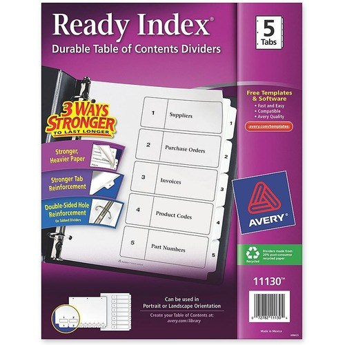 """Avery® Ready Index Classic Tab Binder Dividers - 5 x Divider(s) - 1-5, Table of Contents - 5 Tab(s)/Set - 8.50"""" Divider Width x 11"""" Divider Length - 3 Hole Punched - White Paper Divider - White Paper Tab(s)"""