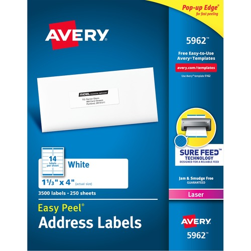Ave 5962 Avery Easy Peel Mailing Laser Labels Ave5962