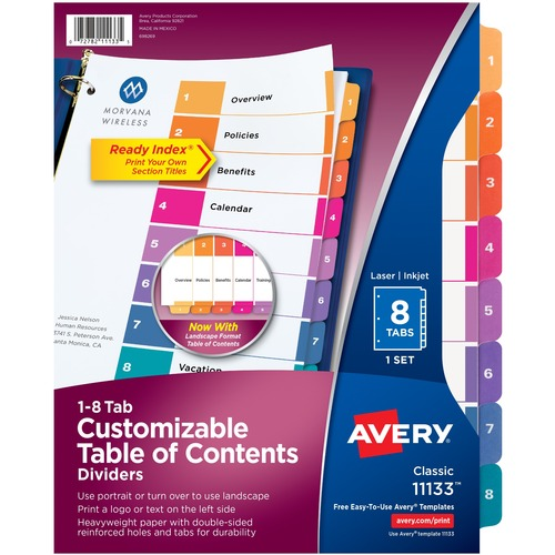 """Avery® Ready Index Custom TOC Binder Dividers - 8 x Divider(s) - 1-8, Table of Contents - 8 Tab(s)/Set - 8.50"""" Divider Width x 11"""" Divider Length - 3 Hole Punched - White Paper Divider - Multicolor Paper Tab(s)"""
