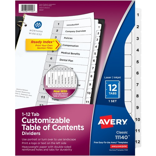 """Avery® Ready Index Classic Tab Binder Dividers - 12 x Divider(s) - 1-12, Table of Contents - 12 Tab(s)/Set - 8.50"""" Divider Width x 11"""" Divider Length - 3 Hole Punched - White Paper Divider - White Paper Tab(s)"""