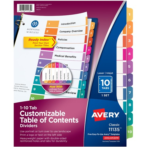 """Avery® Ready Index Custom TOC Binder Dividers - 10 x Divider(s) - 1-10, Table of Contents - 10 Tab(s)/Set - 8.50"""" Divider Width x 11"""" Divider Length - 3 Hole Punched - White Paper Divider - Multicolor Paper Tab(s)"""