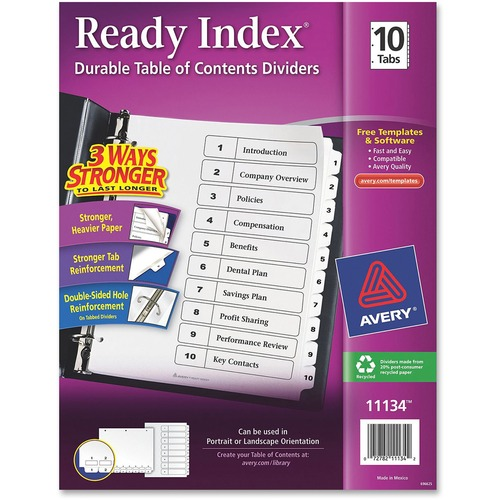 """Avery® Ready Index Classic Tab Binder Dividers - 10 x Divider(s) - 1-10, Table of Contents - 10 Tab(s)/Set - 8.50"""" Divider Width x 11"""" Divider Length - 3 Hole Punched - White Paper Divider - White Paper Tab(s)"""