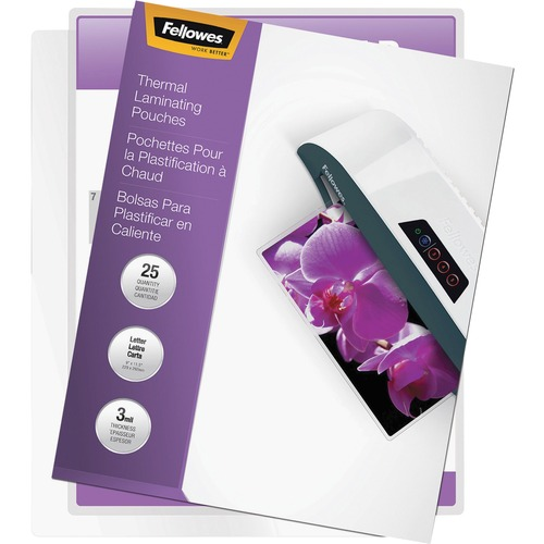 """Fellowes Thermal Laminating Pouches - ImageLast™, Jam Free, Letter, 3 mil, 25 pack - Sheet Size Supported: Letter - Laminating Pouch/Sheet Size: 9"""" Width x 3 mil Thickness - Type G - Glossy - for Document - Self-adhesive, Durable, UV Resistant, Fade"""