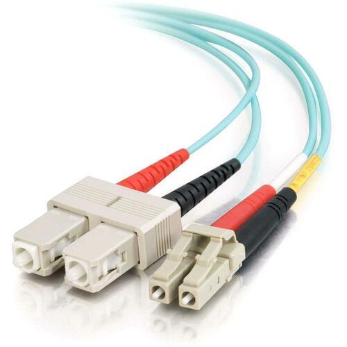 1m LC-SC 10Gb 50/125 OM3 Duplex Multimode PVC Fiber Optic Cable | Aqua