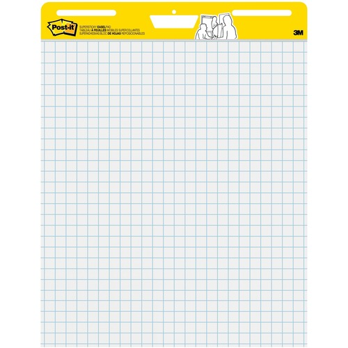 """Post-it® Self-Stick Easel Pad Value Pack with Faint Grid - 30 Sheets - Stapled - Feint Blue Margin - 18.50 lb Basis Weight - 25"""" x 30"""" - White Paper - Self-adhesive, Repositionable, Resist Bleed-through, Removable, Sturdy Back, Cardboard Back"""
