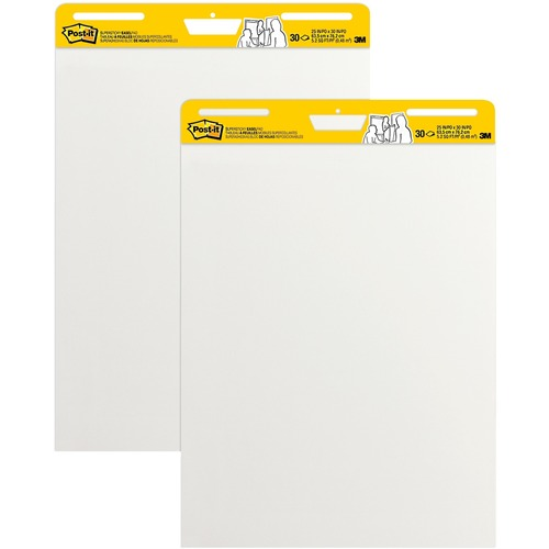 """Post-it® Self-Stick Easel Pads - 30 Sheets - Plain - Stapled - 18.50 lb Basis Weight - 25"""" x 30"""" - White Paper - Self-adhesive, Repositionable, Resist Bleed-through, Removable, Sturdy Back, Cardboard Back"""