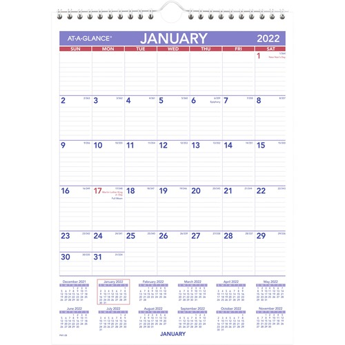"At-A-Glance Recycled Monthly Wall Calendar - Julian Dates - Monthly - 1 Year - January 2021 till December 2021 - 1 Month Single Page Layout - 8"" x 11"""