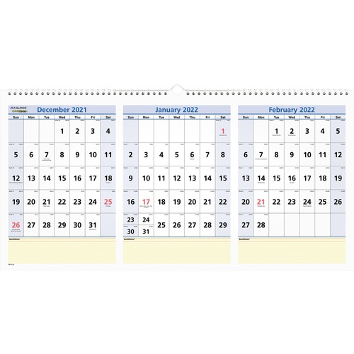 Horizontal December 2019 Calendar Page At A Glance QuickNotes 3 Month Horizontal Wall Calendar   Yes