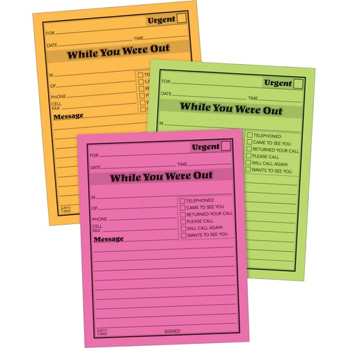 """Adams Neon While You Were Out Message Pads - 50 Sheet(s) - Gummed - 4"""" x 5"""" Sheet Size - Assorted - Assorted Sheet(s) - 6 / Pack"""