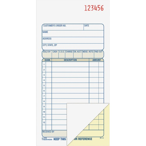 """Adams Carbonless 2-part Numbered Sales Order Books - 50 Sheet(s) - 2 PartCarbonless Copy - 3 11/32"""" x 7 3/16"""" Sheet Size - White, Canary - Assorted Sheet(s) - Red Print Color - 1 Each"""
