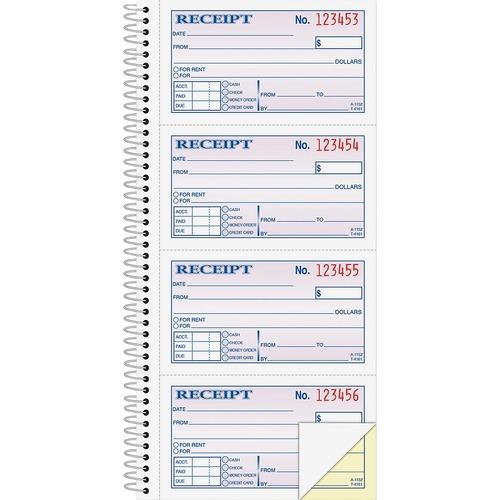 "Adams Spiral 2-part Money/Rent Receipt Book - 200 Sheet(s) - Spiral Bound - 2 Part - 11"" x 5.25"" Form Size - White, Canary - Assorted Sheet(s) - 1 Each"
