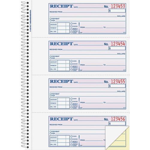 "Adams Spiral 2-part Money/Rent Receipt Book - 200 Sheet(s) - Spiral Bound - 2 Part - 2.75"" x 7.62"" Form Size - White, Canary - Assorted Sheet(s) - 1 Each"