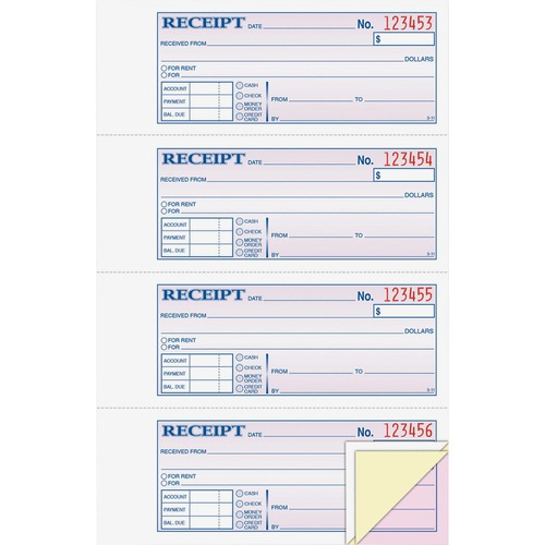 """Adams Tapebound 3-part Money Receipt Book - 100 Sheet(s) - Tape Bound - 3 PartCarbonless Copy - 2.75"""" x 7.62"""" Form Size - White, Canary, Pink - Assorted Sheet(s) - 1 Each"""