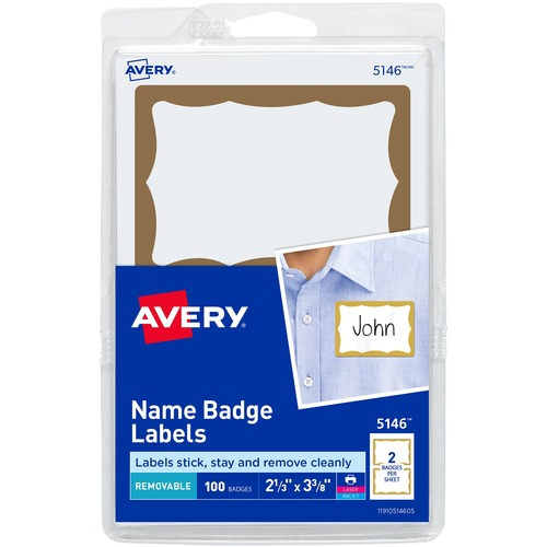 Avery® Adhesive Name Badge Labels - Removable Adhesive - 2 11/32