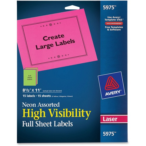 picture about Avery Printable Stickers referred to as AVE 5975 Avery Higher-visibility Laser Printable Labels AVE5975