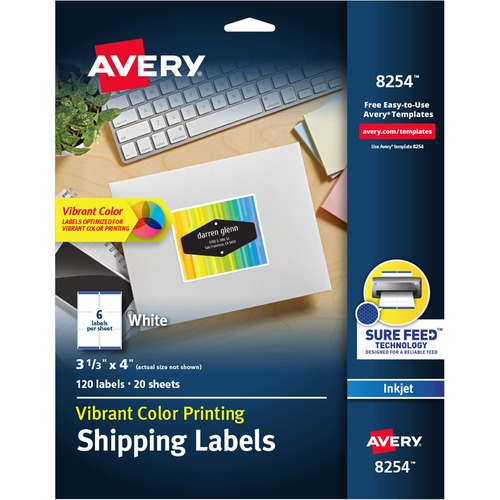 8254 Avery Matte White Inkjet Printing Mailing Labels Ave8254