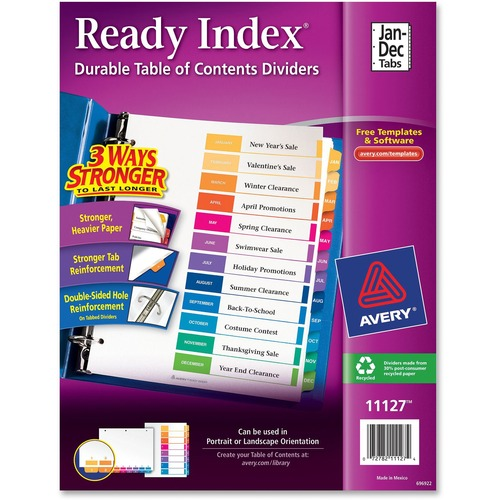 """Avery® Ready Index Binder Dividers - Customizable Table of Contents - 12 x Divider(s) - Printed Tab(s) - Month - Jan-Dec - 12 Tab(s)/Set - 8.50"""" Divider Width x 11"""" Divider Length - Letter - 3 Hole Punched - White Paper Divider - Multicolor Paper Tab("""