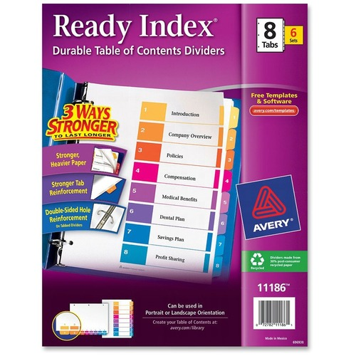 "Avery® Avery Ready Index 8 Tab Dividers, Customizable TOC, 6 Sets (11186) - 8 x Divider(s) - 1-8, Table of Contents - 8 Tab(s)/Set - 8.5"" Divider"