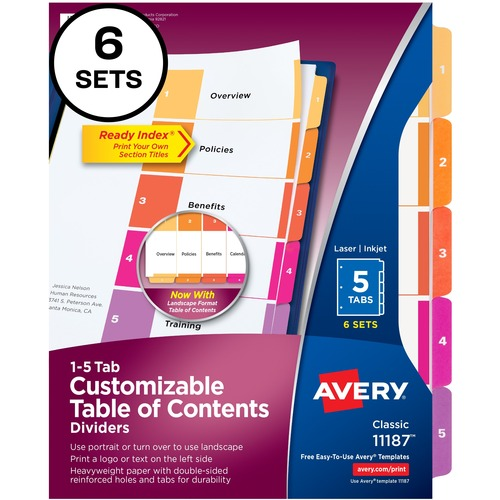 """Avery® Ready Index Custom TOC Binder Dividers - 30 x Divider(s) - 1-5, Table of Contents - 5 Tab(s)/Set - 8.50"""" Divider Width x 11"""" Divider Length - 3 Hole Punched - White Paper Divider - Multicolor Paper Tab(s) - 6 / Pack"""