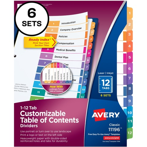 "Avery® Avery Ready Index 12 Tab Dividers, Customizable TOC, 6 Sets (11196) - 12 x Divider(s) - 1-12, Table of Contents - 12 Tab(s)/Set - 8.5"" Divi"